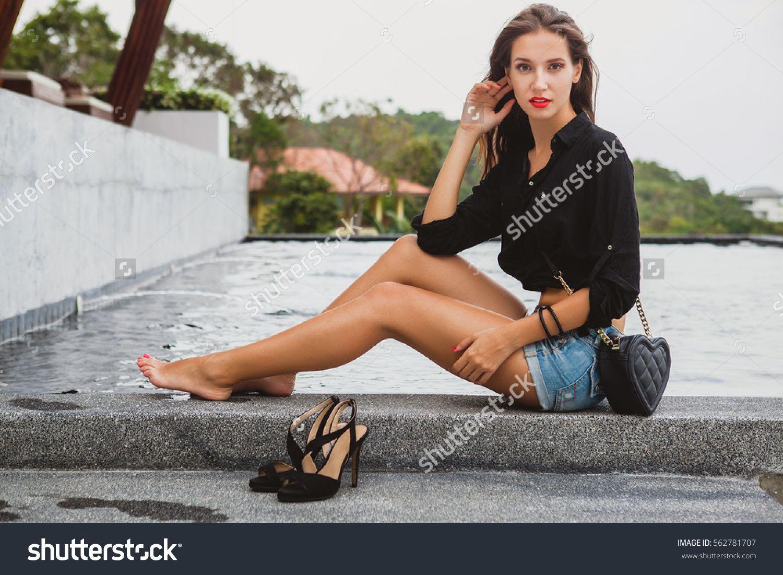 Young Sexy Beautiful Woman Sitting Pool Barefoot Long