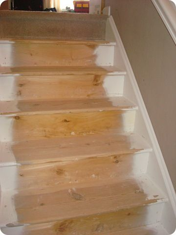 Thrifty Decor Chick: The Stair Redo How To    Stain Color: Minwax Bombay  Mahogany In Gloss