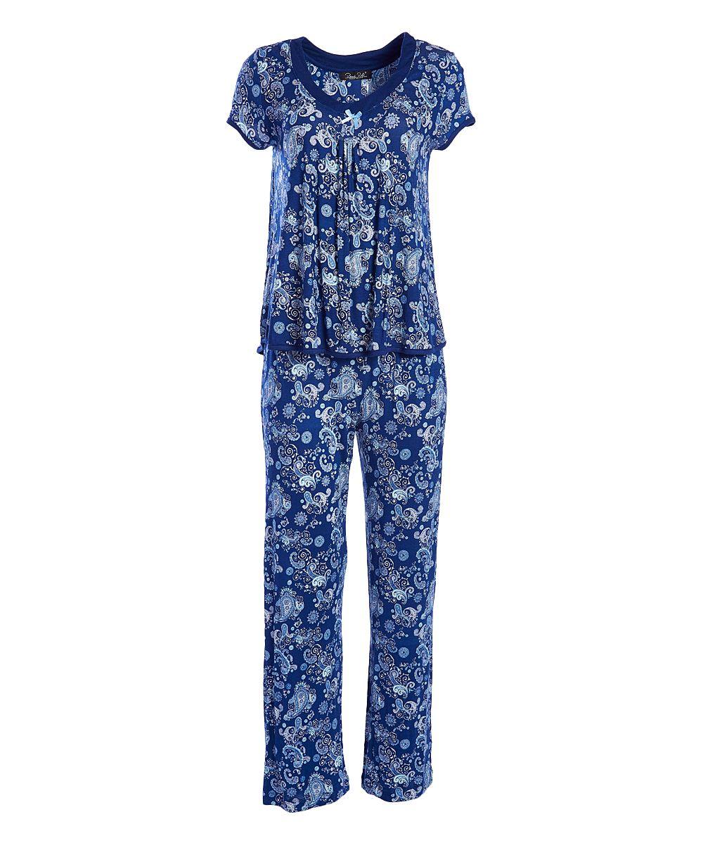55287c487d Navy Paisley Simply Me Cap-Sleeve Pajama Set