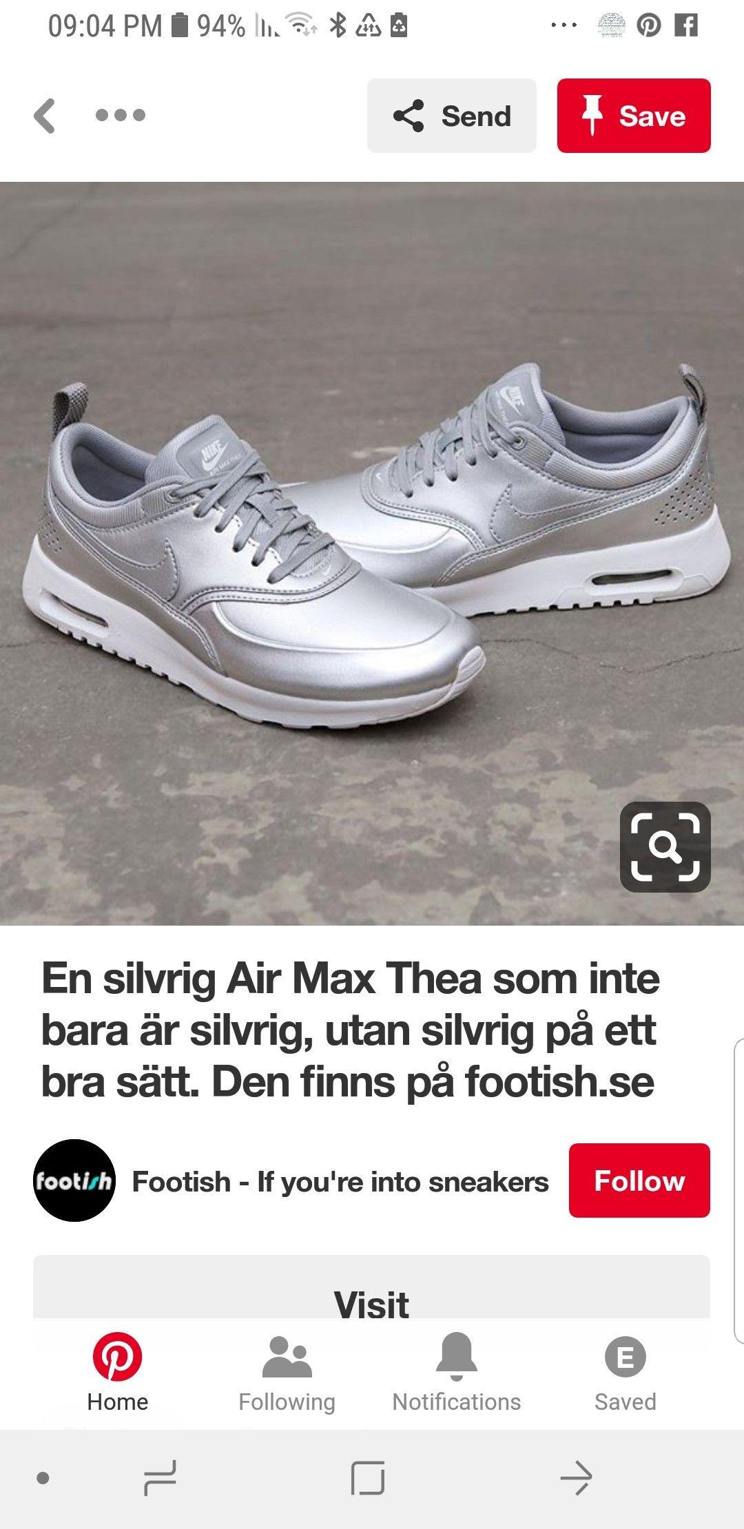 En silvrig Air Max Thea som inte bara är silvrig, utan