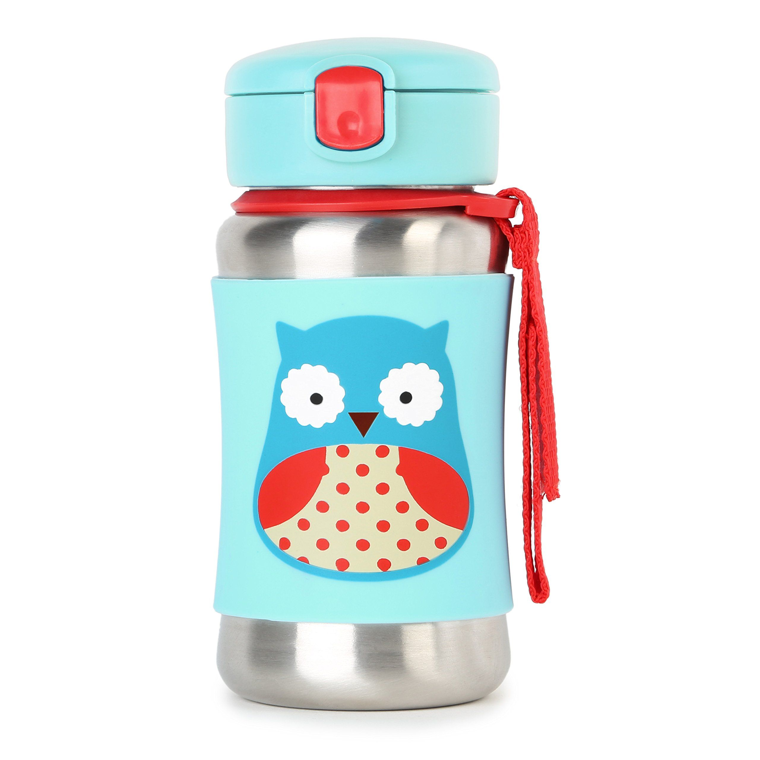 Skip Hop Baby Zoo Little Kid and Toddler Feeding Travel-To-Go Insulated Stainless Steel Straw Bottle, 12 oz, Multi Otis Owl. Stainless steel bottle keeps drinks cool without chilling little hands. No-slip silicone sleeve. Flexible straw flips down to stay clean. Signature Skip Hop Zoo characters. Dishwasher-safe.