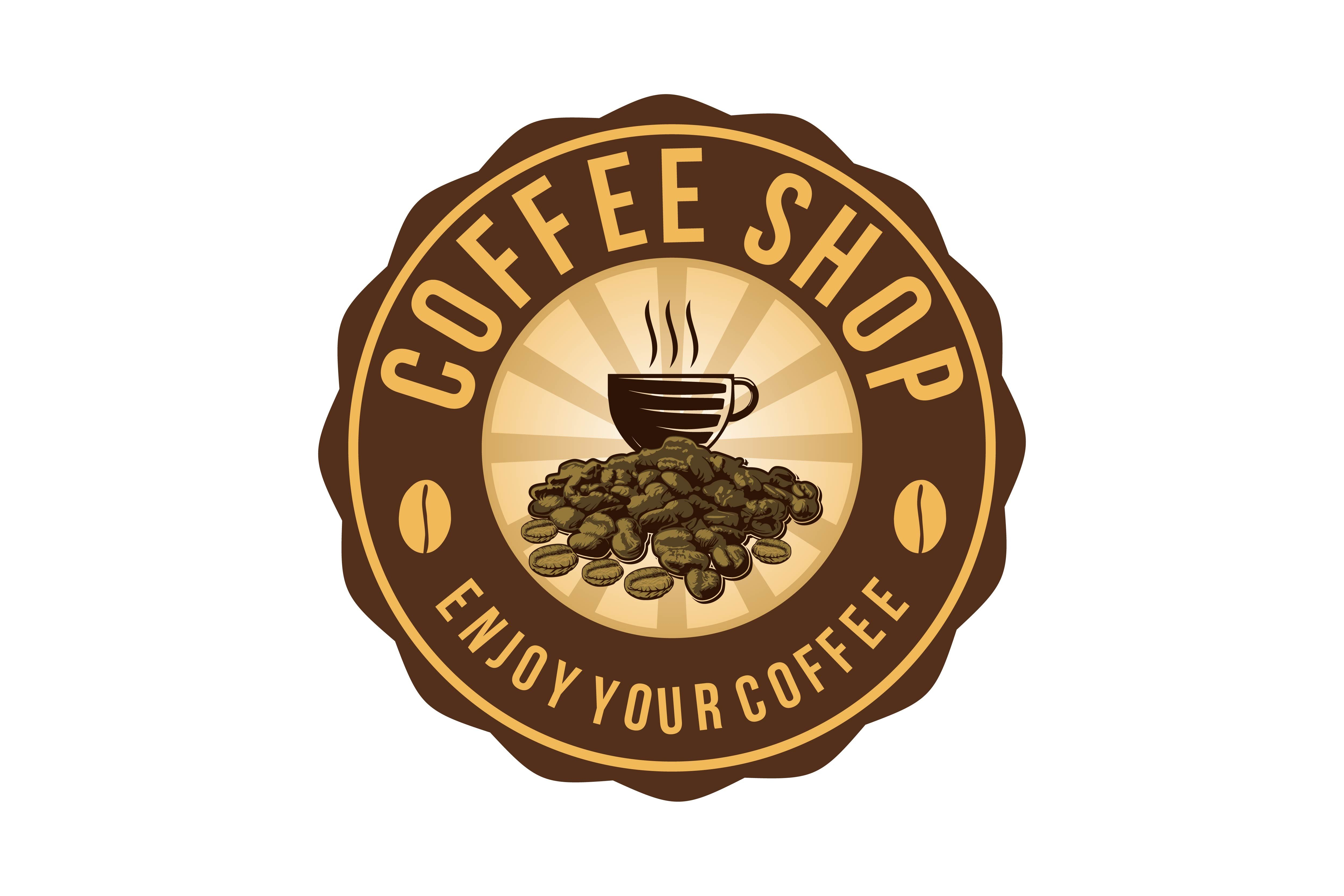 Coffee cup, a pile of coffee bean, coffee shop logo