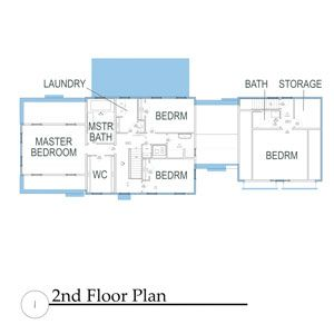 The North Shore House Second Floor - laundry is between master bathroom and 2nd bedroom.