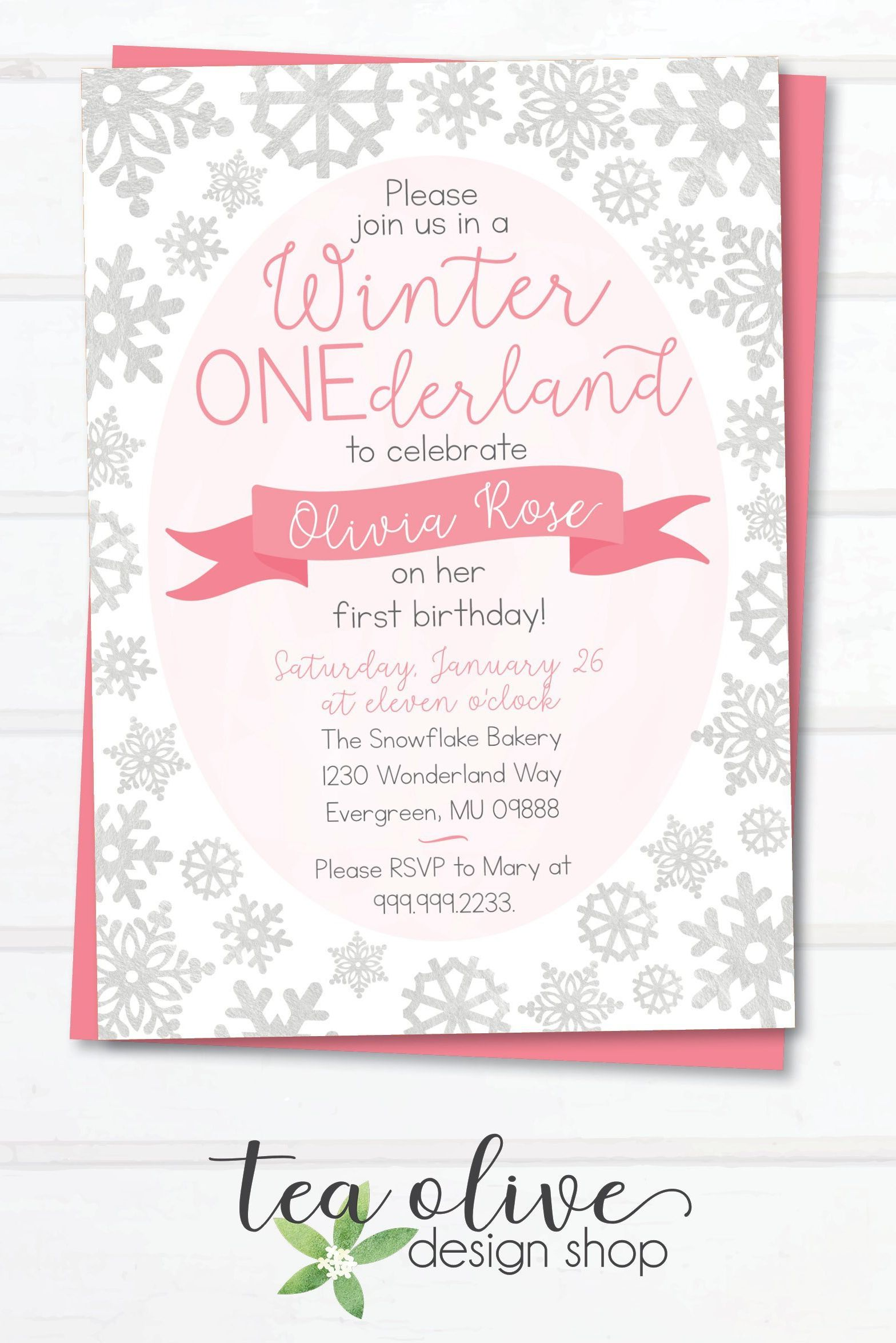 Winter Onederland Birthday Party Invitation Winter Wonderland