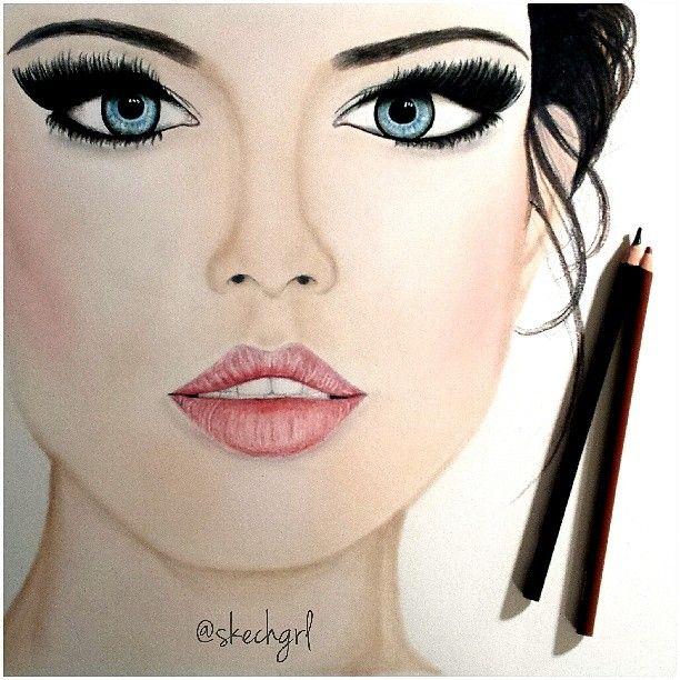 рисунки макияжа карандашом на бумаге для начинающих уже дали функцию