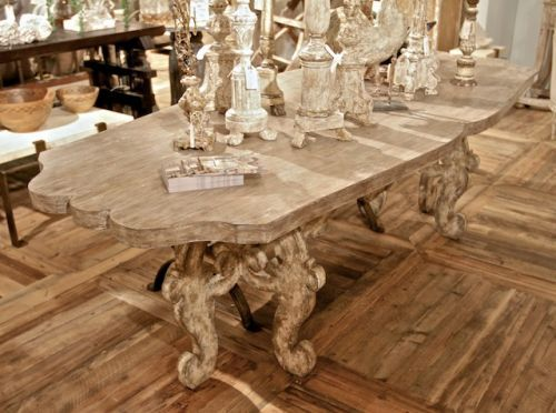 Scroll Farm Table By Bliss Studio Features Intricately Carved Detail.  Vintage Inspired Dining Table Has