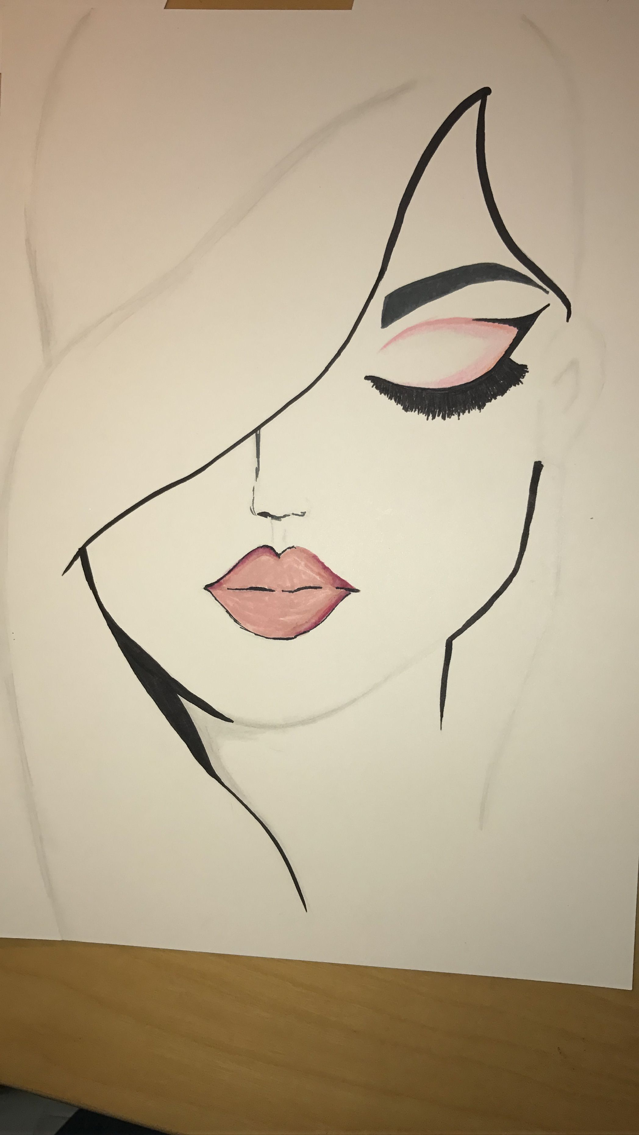 It was very easy to draw but the lips are easy to mess up on