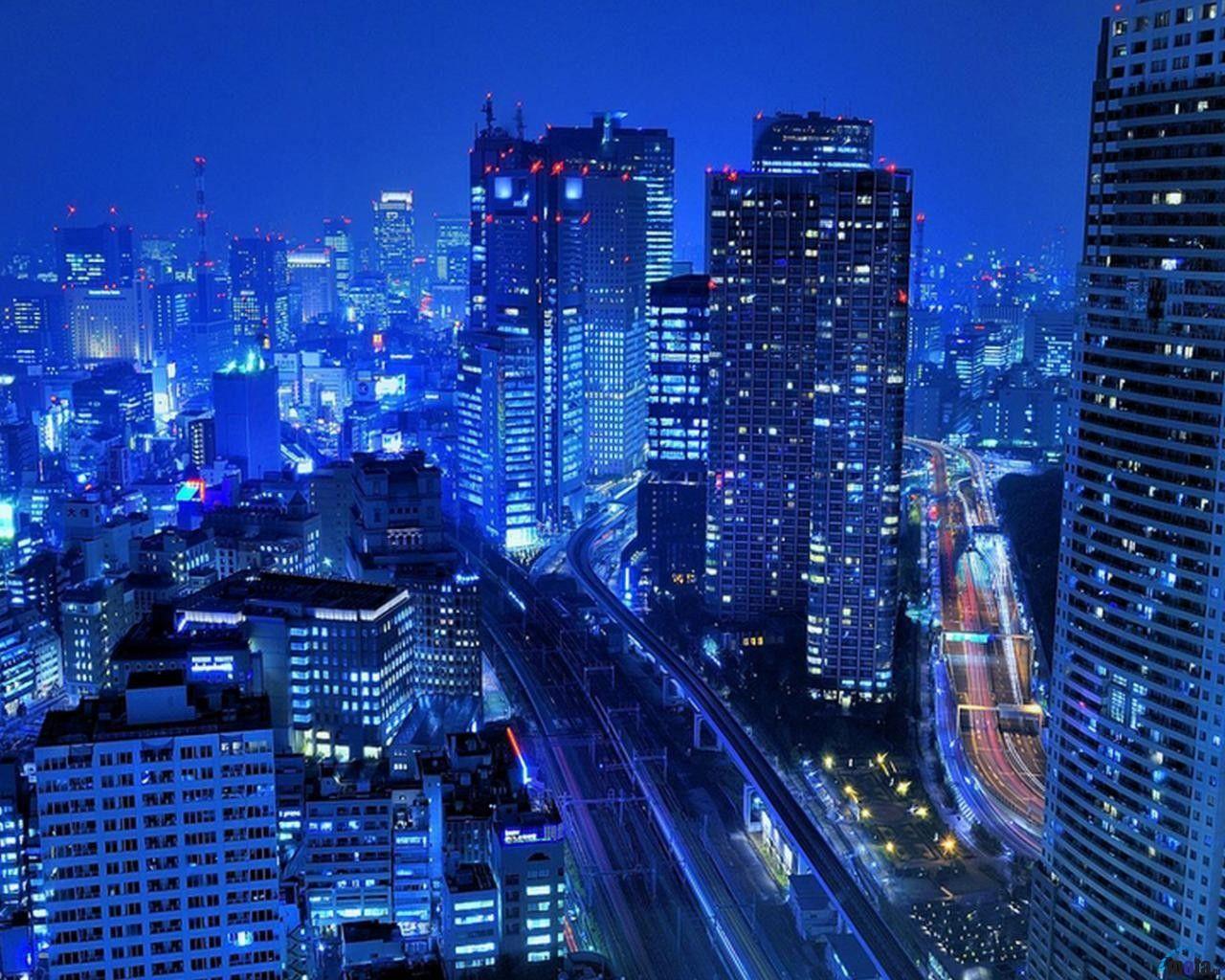 Architectureimg Com Blue Night City Tokyo Wallpaper Wide Cityscape Wallpaper Skyscraper City Wallpaper