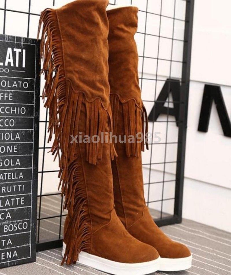 Winter Womens Tassels Fringe Suede Knee High Boots Flats