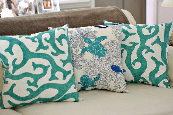 Beach House Decor C Reef 18x18 Throw Pillow Pick Fabric Color
