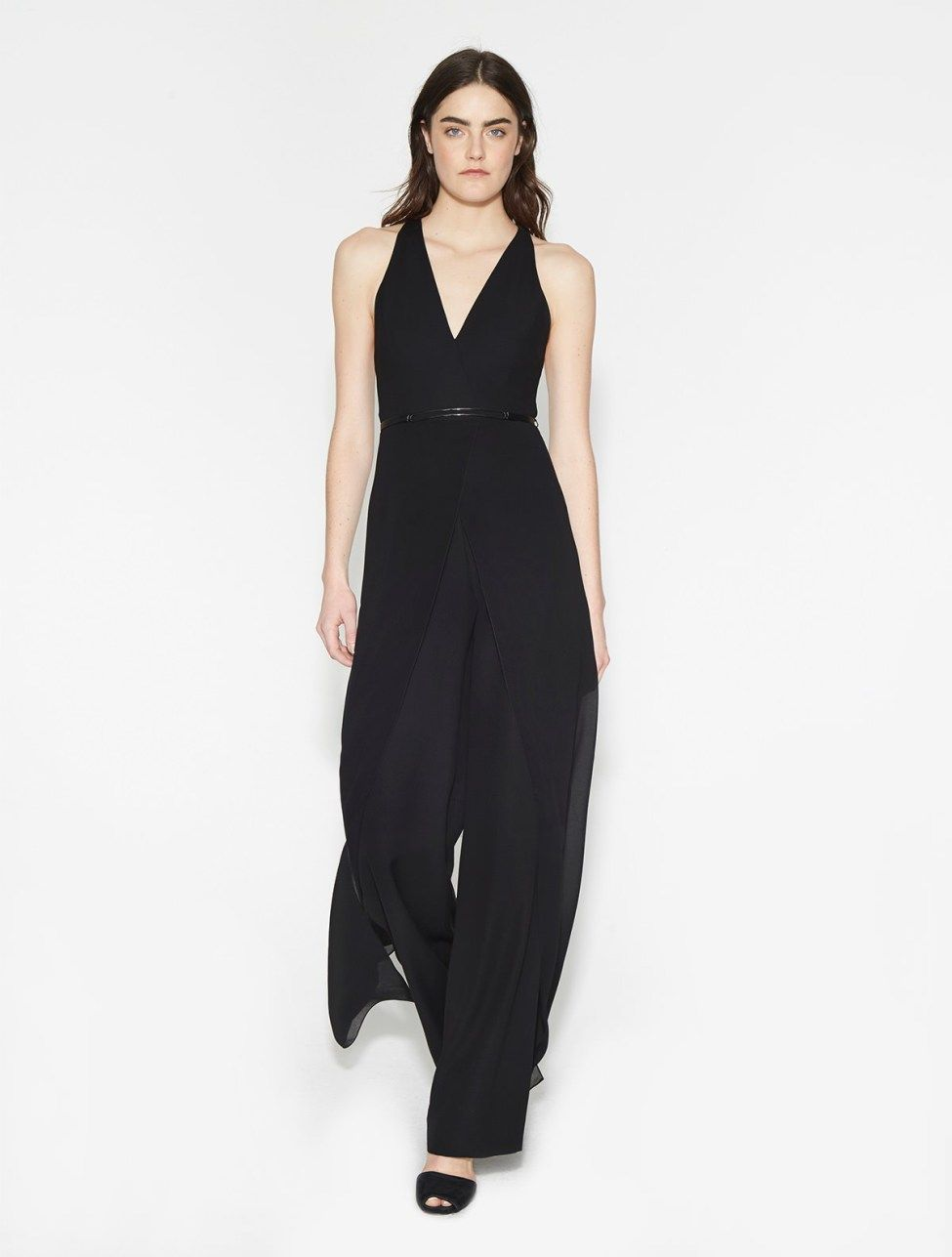 1682776cee5 Belted Crepe Georgette Overlay Jumpsuit
