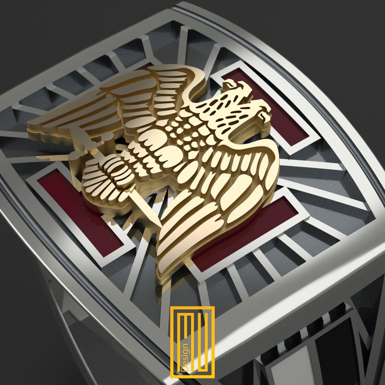 30 th Degree Masonic Ring Unique Design for Men 14k Rose
