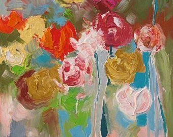 Floral Landscape Original Painting Canvas Art Wall by lindamonfort