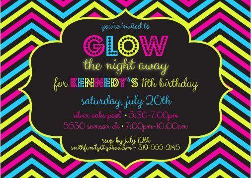 Glow In The Dark Invites Glow Party 5 X 7 Printable Invitation