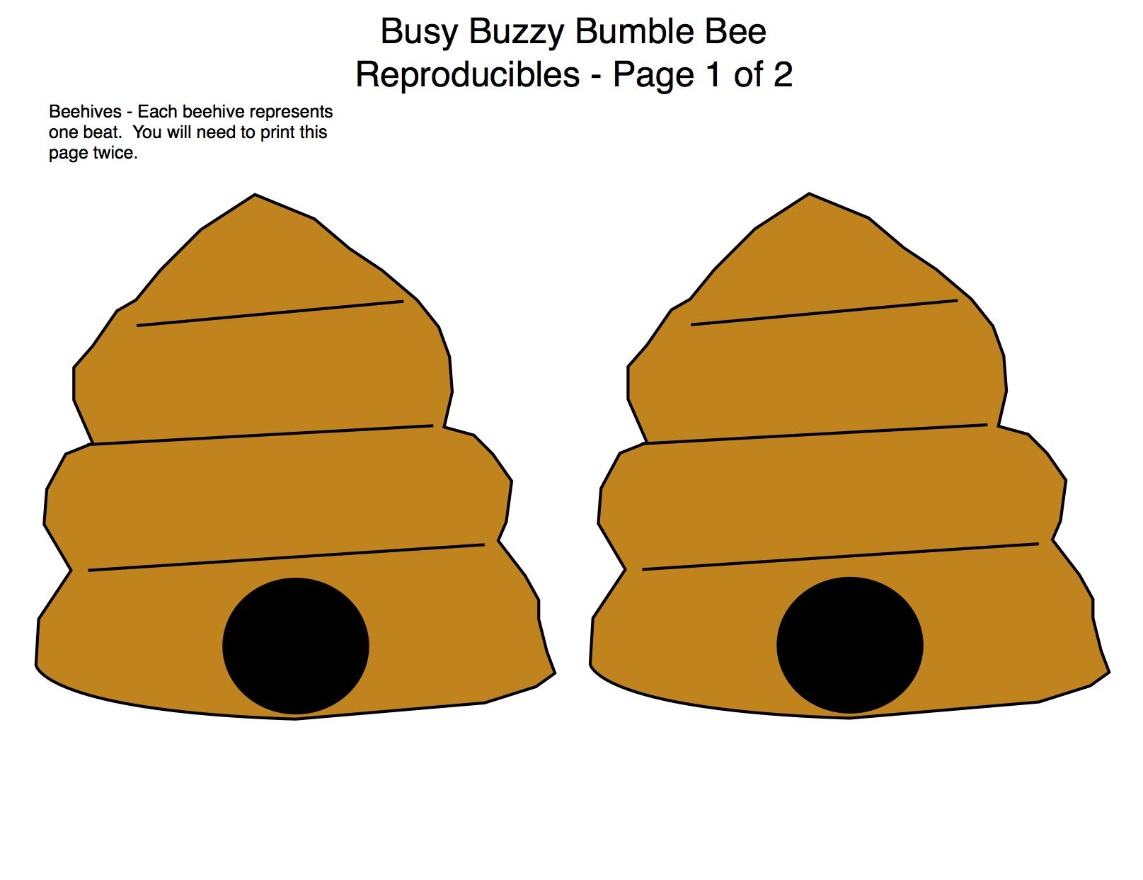 Page 1 Of 2 Busy Buzzy Bumble Bee Manipulatives Rhythm
