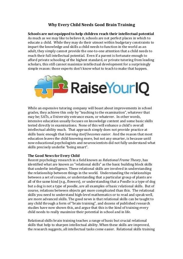 Brain training for kids by Raise Your IQ via slideshare