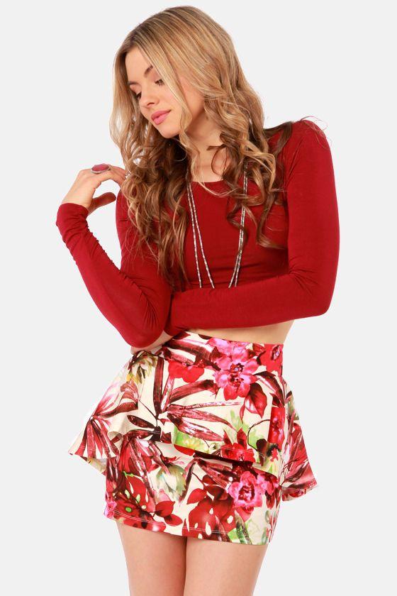 Cute Floral Print Skirt - Peplum Skirt - $39.00
