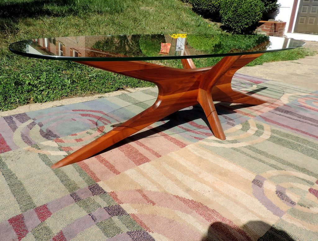 WALNUT COFFEE TABLE ADRIAN PEARSALL 1960S JAXS BASE GLASS TOP MID