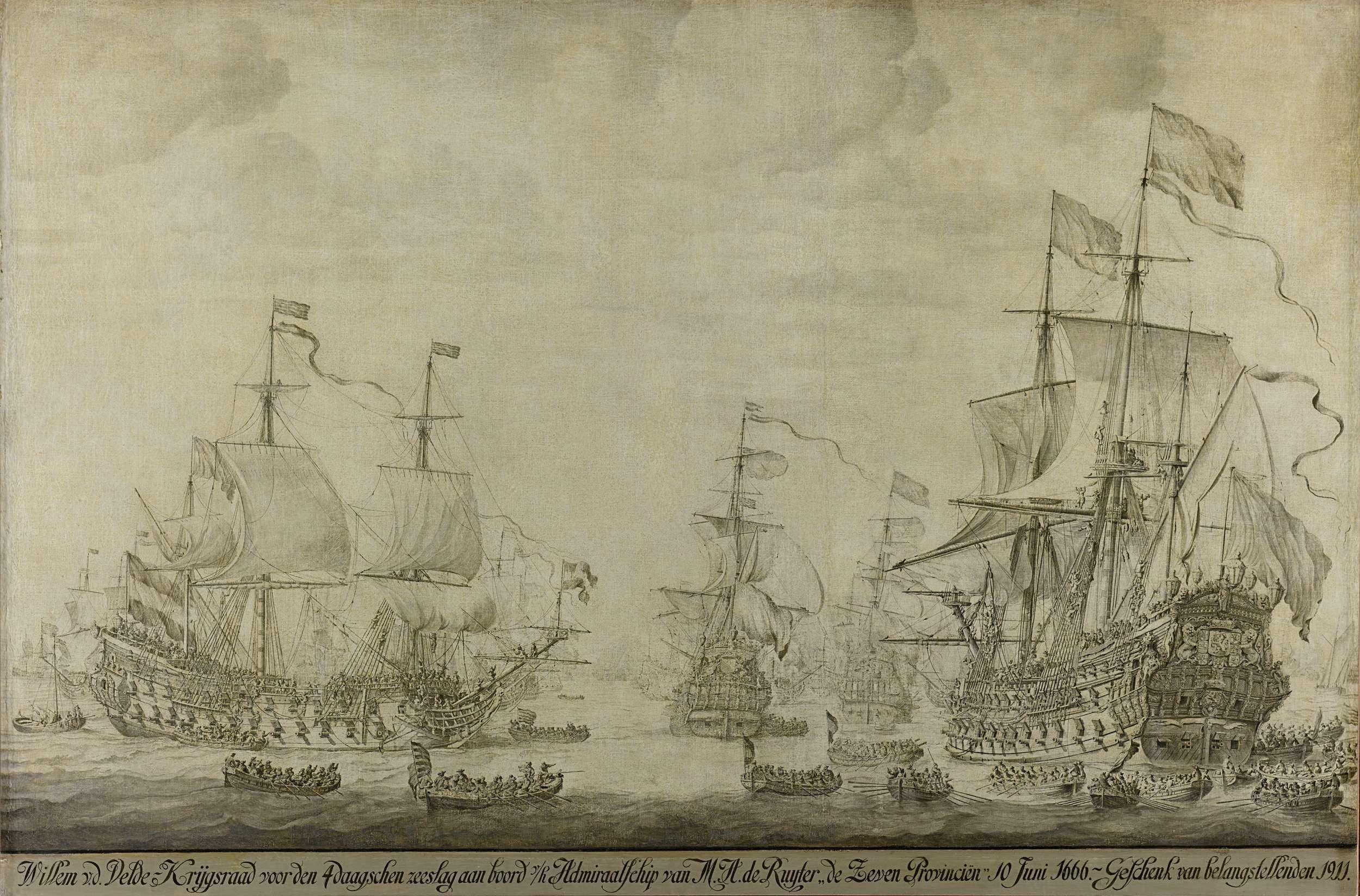 De krijgsraad aan boord van de De Zeven Provinciën, het admiraalsschip van Michiel Adriaensz de Ruyter, 10 juni 1666, voorafgaande aan de vierdaagse zeeslag, episode uit de Tweede Engelse Zeeoorlog., Willem van de Velde (I), 1666 - 1693