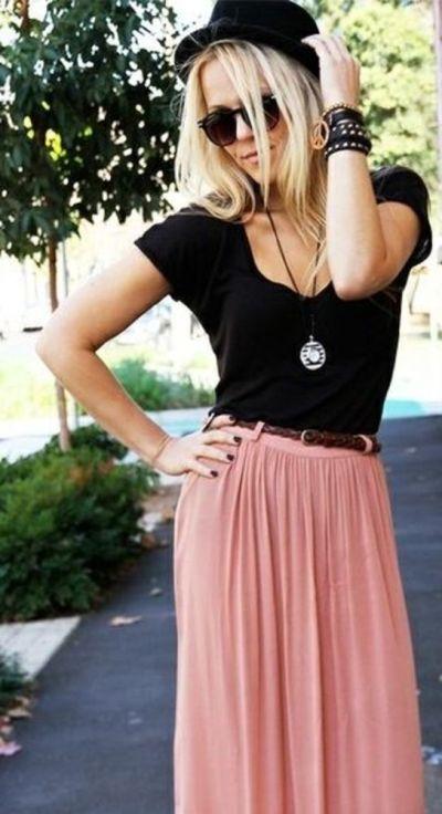 5bcbdb5f2 Maxi falda rosa, combinación perfecta con negro | Ropa | Estilos de ...