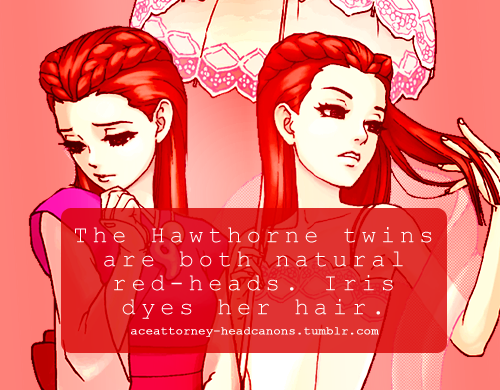 Dahlia And Iris S Natural Hair Colour Is Bright Red Iris Dyes It So She Doesn T Stick Out Among The Rest Of The Fey Family Submi Phoenix Wright Ace Headcanon
