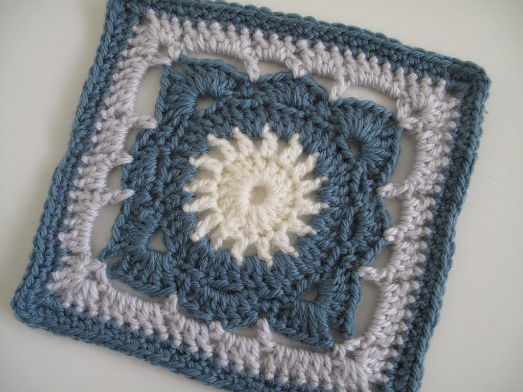 https://flic.kr/p/7pMaWB   #189 Willow   Love this block, especially the pattern around the cream center.  From Jan Eaton's '200 Crochet Blocks' for the 'Lets Make 7 Crochet-a-long'