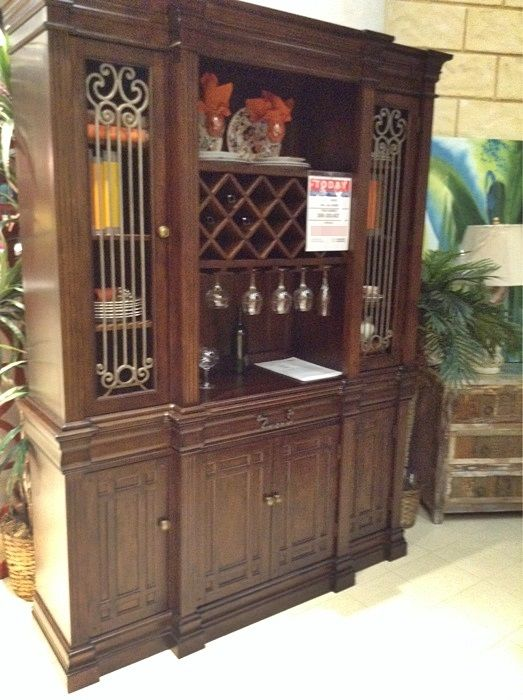 Solid Wood Dining Hutch With Integrated Wine Bar