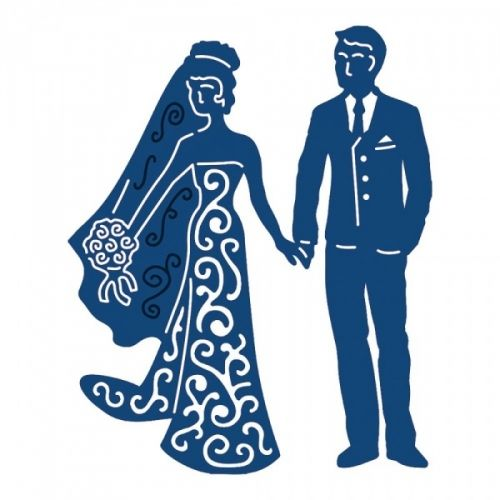 TATTERED LACE - DIE 504525 - BRIDE & GROOM Tattered Lace-Metal Die. One of the leading die cutting companies in the world, Tattered Lace is a brand that delivers unique, intricate and highly detailed dies to use on any papercraft project for any craft occasion! Works with most die-cutting machines (sold separately). This package contains one 3-3/5x3 inch die. Design: Bride & Groom. Designer: Stephanie Weightman.