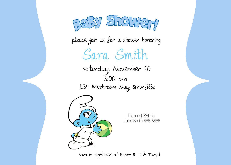 smurfs baby shower invitation ebay smurf baby shower invitation i ...