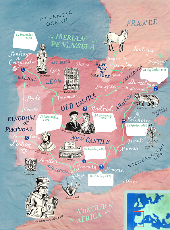 Historic illustrated map of Spain and Portugal for BBC World