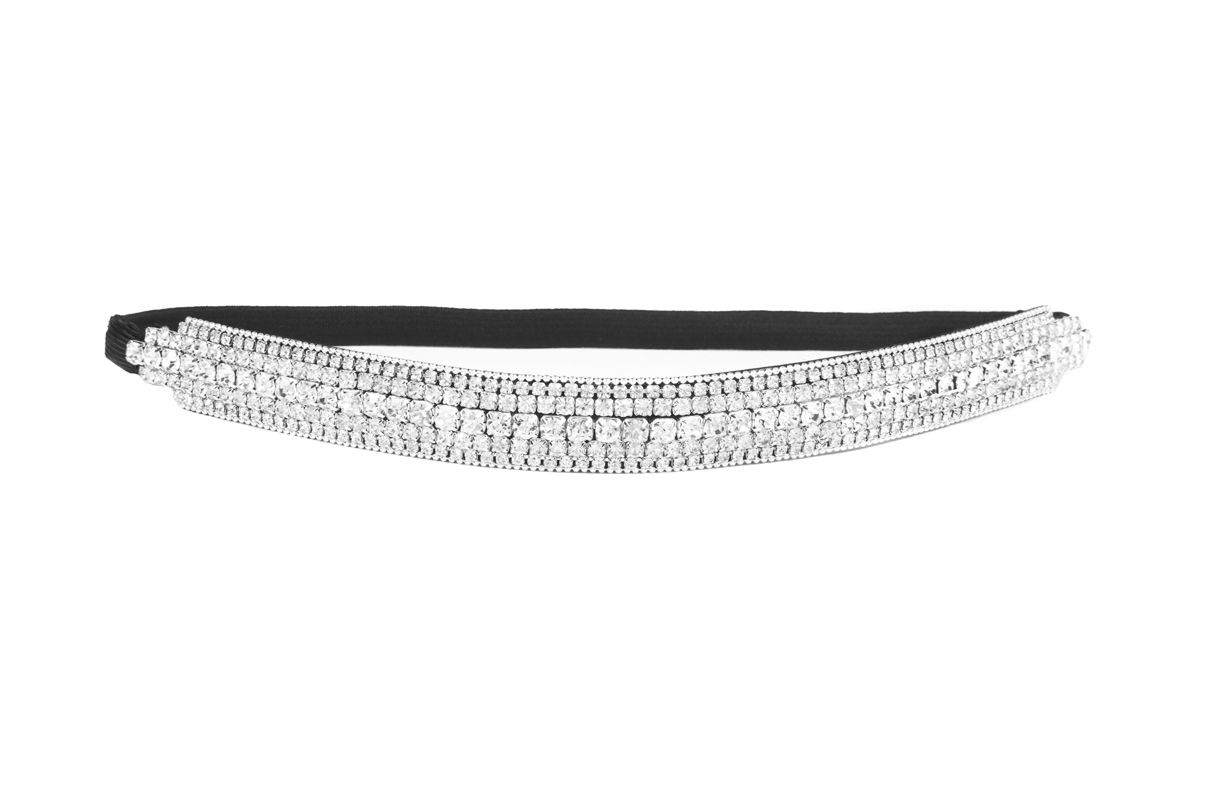 Style D  Thick Patterned Shimmering Bling Bridal Rhinestone Elastic  Headbands Now   SIZZLE CITY Shop b3b2c0694be