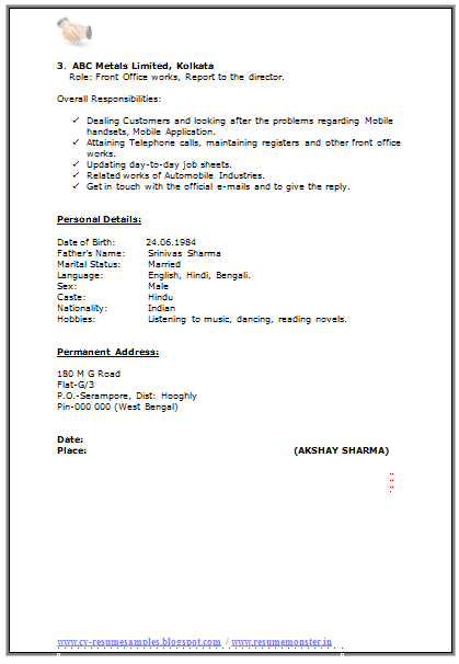 Resume Format For Ma Experience   Career    Resume