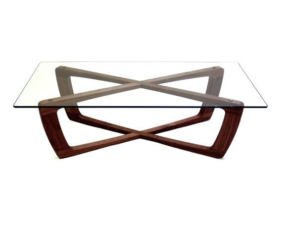 Glass Table With Wood Base And Coffee Rectangular Top