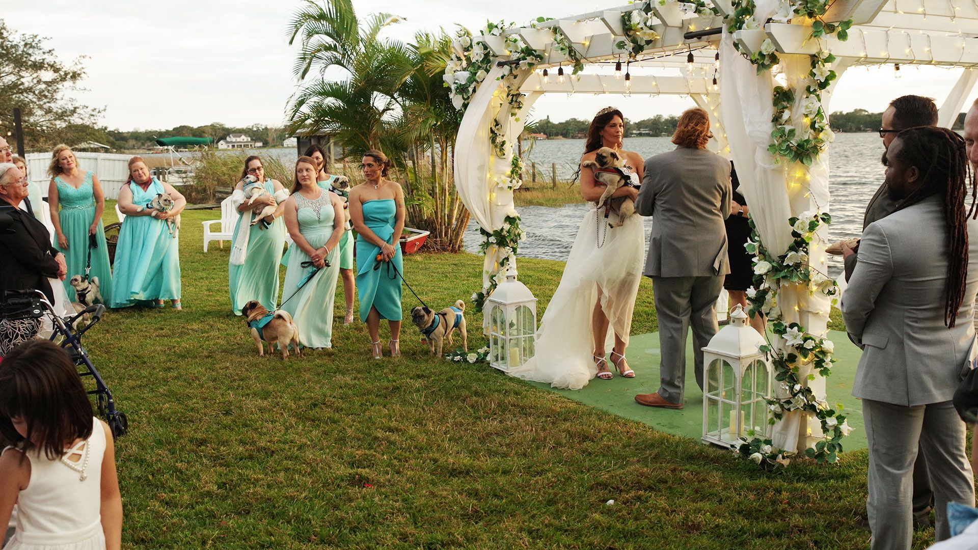 Bridesmaids Ditch Bouquets For Rescue Pugs To Honor Florida Bride S Late Brother Pug Wedding Bride Friend Bridesmaid