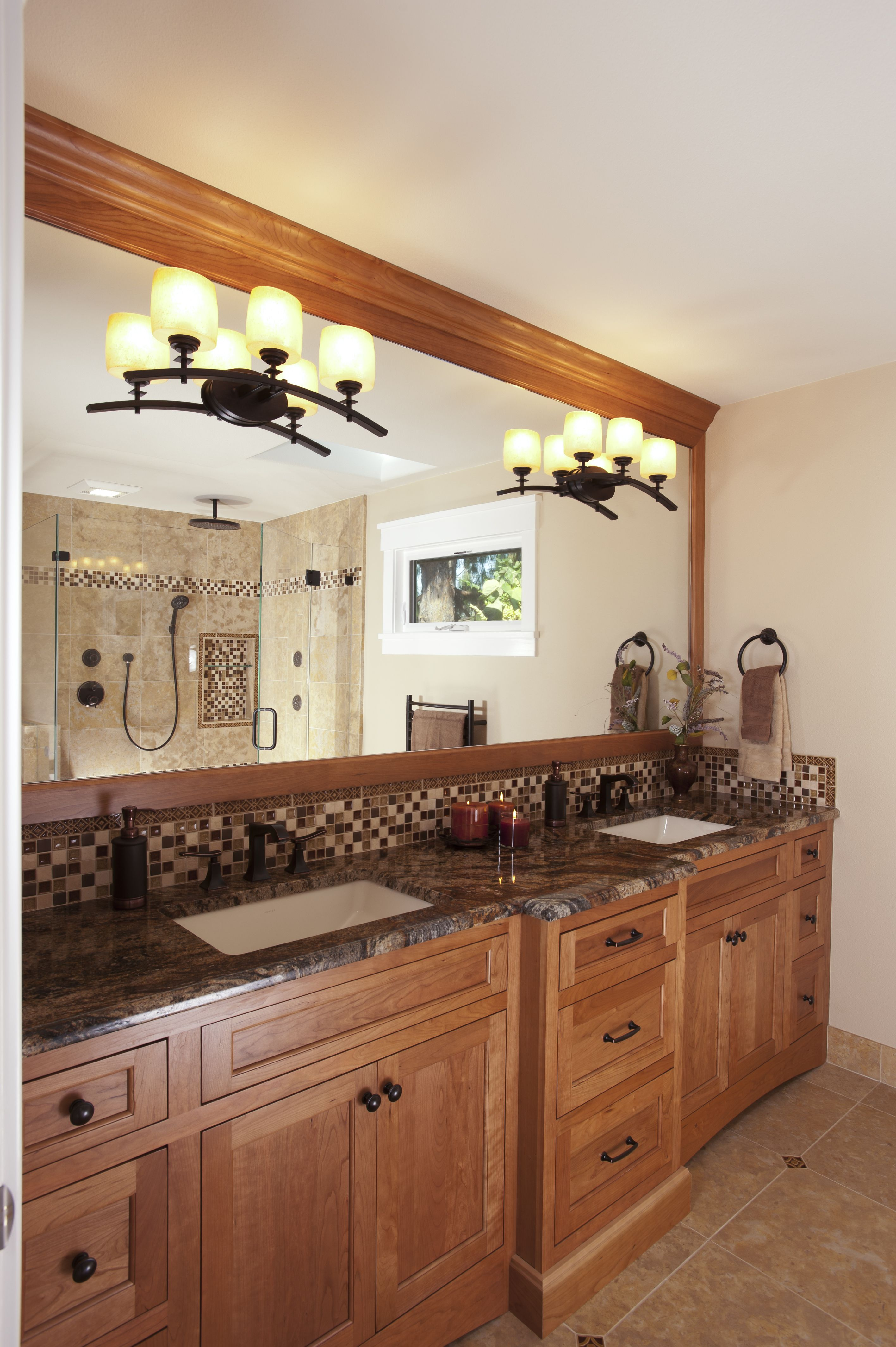 Cabinets dynasty by omega uliano door in cherry wood and wheat finish custom mirror frame for Omega bathroom vanity cabinet