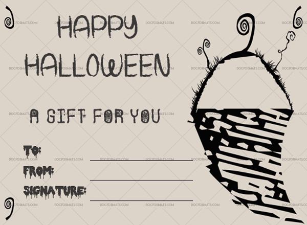 Halloween Gift Certificate Snow Sword 1025 Doc Formats Gift Certificate Template Word Halloween Gifts Gift Certificate Template