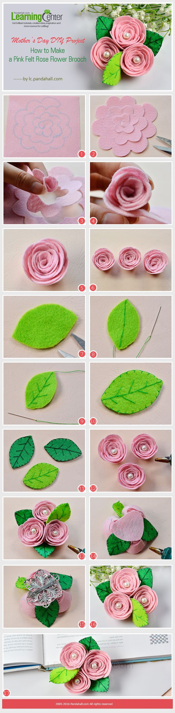 Mother's Day DIY Project - How to Make a Pink Felt Rose Flower Brooch from http://LC.Pandahall.com