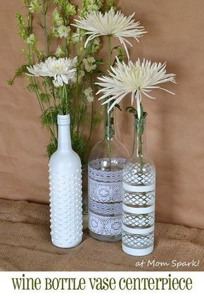 Boho Wine Bottle Vase Centerpiece Flowers Pinterest Wine