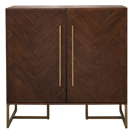 Park Avenue Bar Cabinet Acacia Natural Brass
