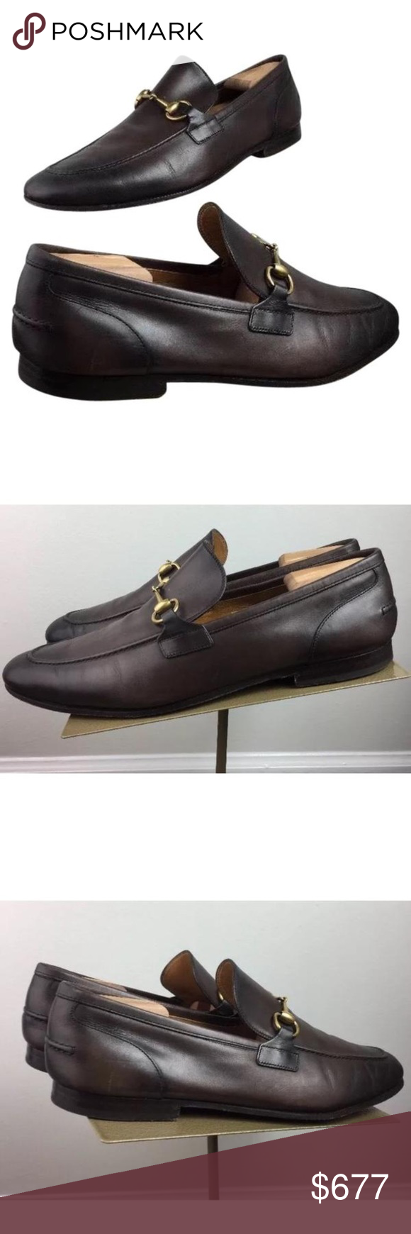 468509e1c Gucci loafer Gucci Jordaan Brown Burnished Toe Bit Loafer Men's Leather  Shoes Size 11G / 12US Rare size to find Shoes Loafers & Slip-Ons