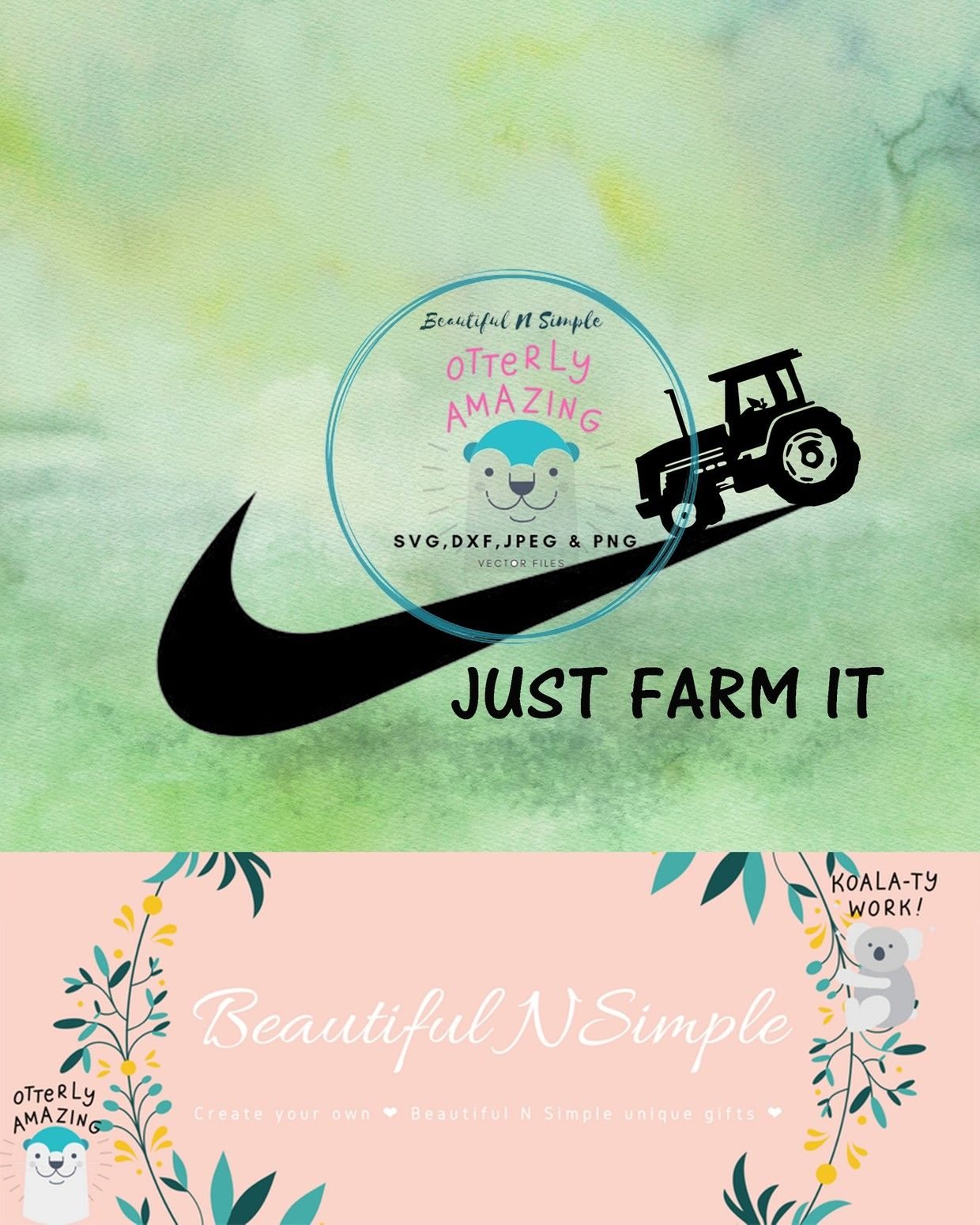 Just Farm It Nike Swoosh Inspired Country SVG DXF File