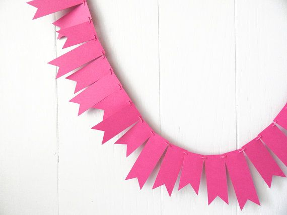 Hot Pink Garland / Neon Pink Bunting / Razzle by ElisabethNicole