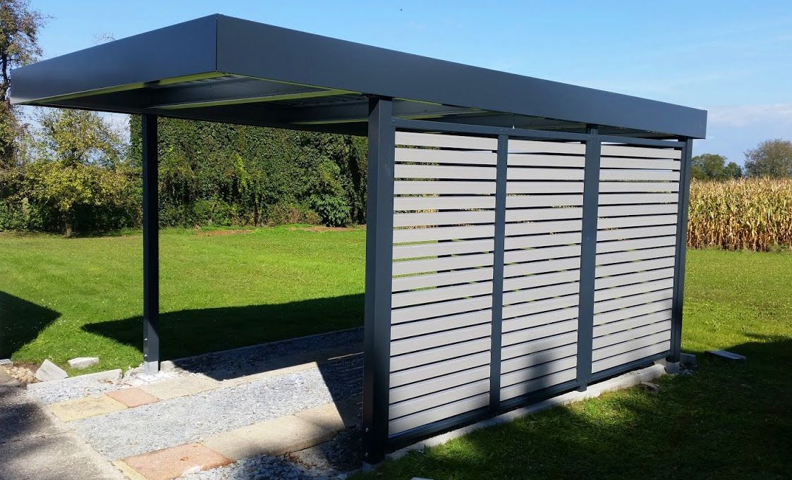myport einzelcarport aus metall in anthrazit mit wandelement wpc carport carports. Black Bedroom Furniture Sets. Home Design Ideas