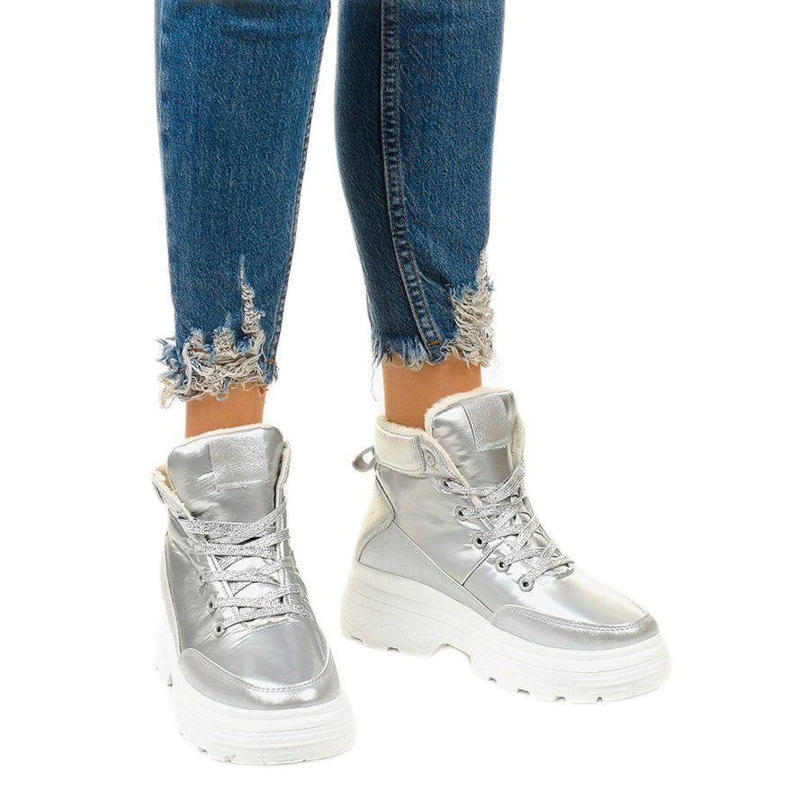 Srebrne Ocieplane Sneakersy Heiden Srebrny In 2020 Wedge Sneaker High Top Sneakers Sneakers