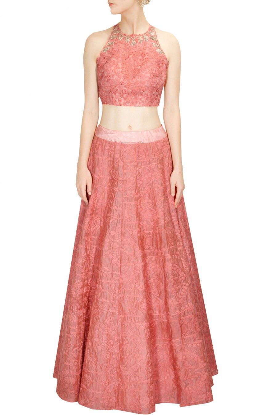 Monotone embroidered coral crop top with high waisted lehenga ...