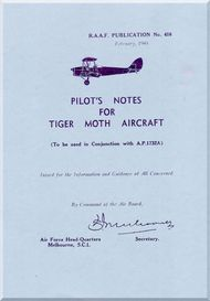 De Havilland Tiger Moth Aircraft Pilot's Notes Manual