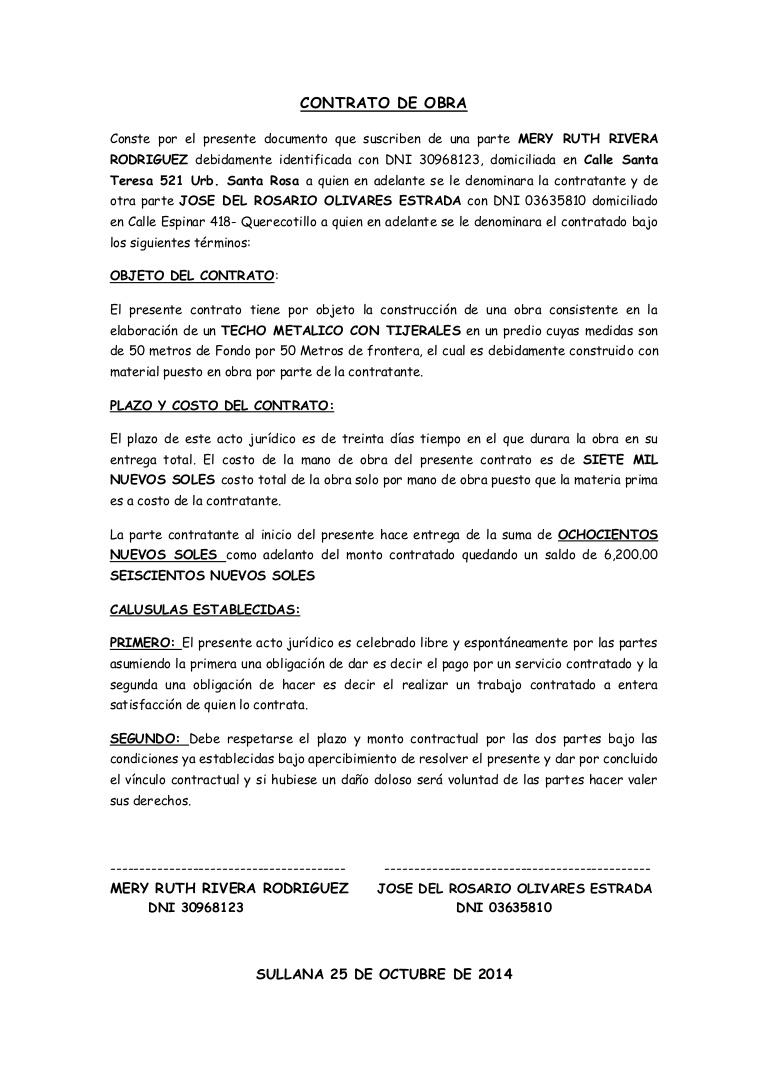 CONTRATO DE OBRA Conste por el presente documento que suscriben de una parte MERY RUTH RIVERA RODRIGUEZ debidamente identificada con DNI 30968123, domiciliad…