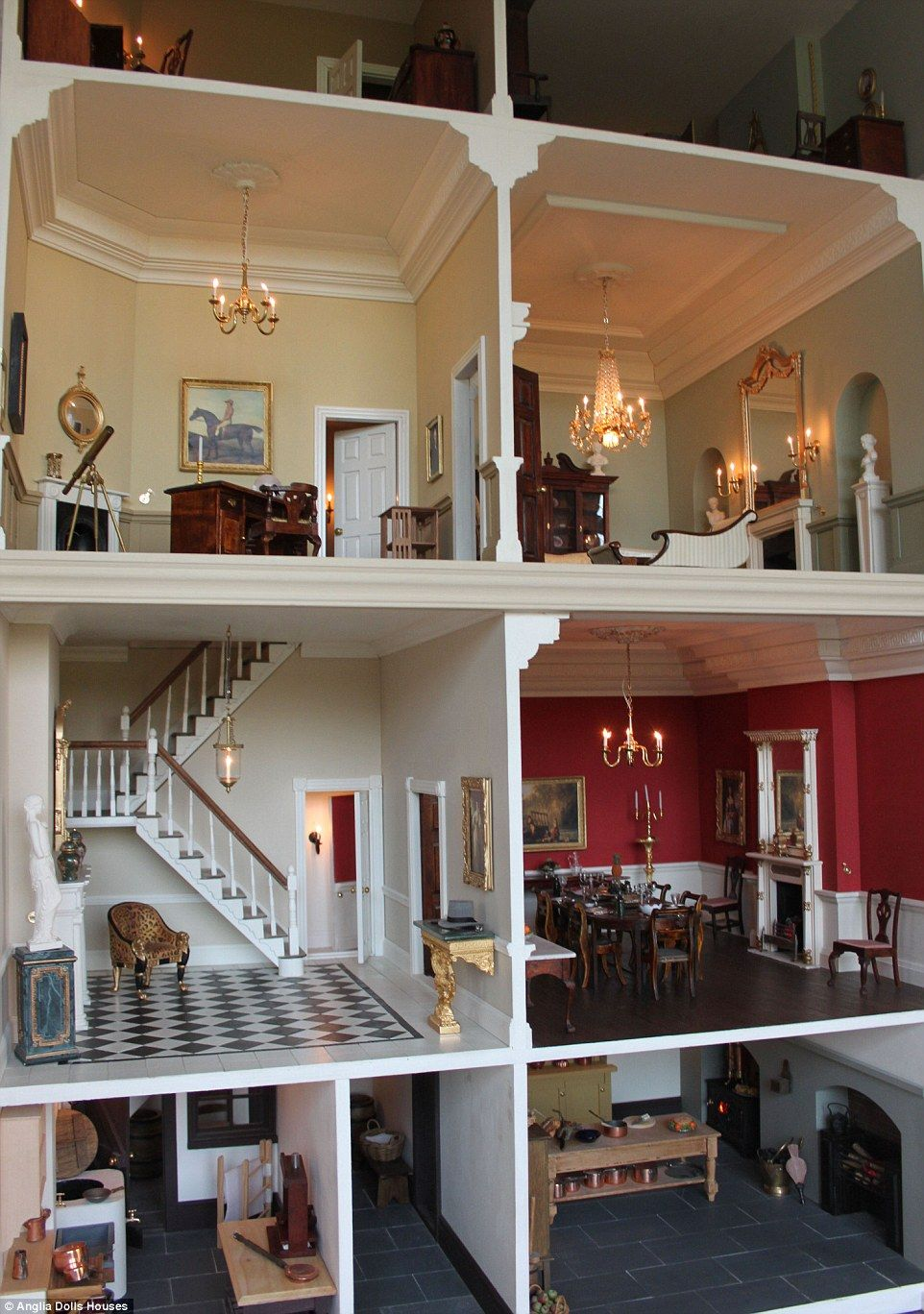 Detailed: The four-storey home, pictured, has been built so that each room can be accessed through a logical series of doors and corridors