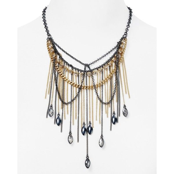 """Abs by Allen Schwartz Two Tone Fringe Statement Necklace, 17"""" (2.515 UYU) ❤ liked on Polyvore featuring jewelry, necklaces, two tone, fringe necklace, statement necklace, two tone jewelry, abs by allen schwartz jewelry and bib statement necklace"""