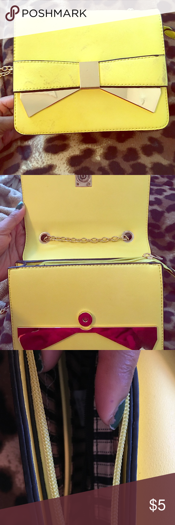 Bright yellow purse Bright lemon yellow purse with gold